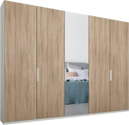An Image of Caren 5 door 250cm Hinged Wardrobe, White Frame, Oak & Mirror Doors, Classic Interior