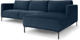 An Image of Milo Right Hand Facing Chaise End Corner Sofa, Sapphire Blue Velvet