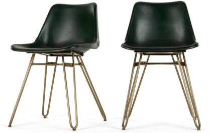 An Image of Set of 2 Kendal Dining Chairs, Green and Brass