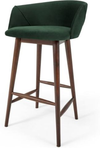 An Image of Lule Bar Stool, Pine Green Velvet