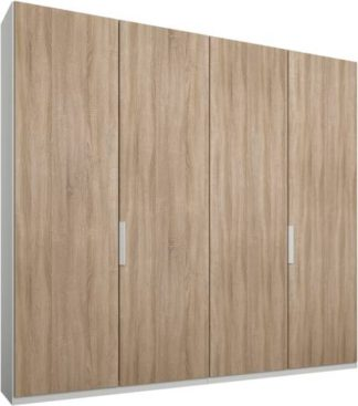 An Image of Caren 4 door 200cm Hinged Wardrobe, White Frame, Oak Doors, Premium Interior
