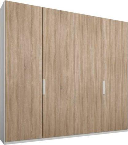 An Image of Caren 4 door 200cm Hinged Wardrobe, White Frame, Oak Doors, Standard Interior