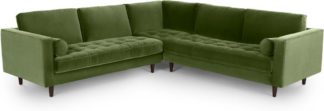 An Image of Scott Corner Sofa, Grass Cotton Velvet