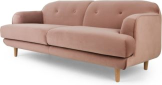 An Image of Gracie 3 Seater Sofa, Vintage Pink Velvet