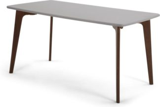 An Image of Fjord 6 Seat Rectangle Dining Table, Dark Stain Oak and Grey