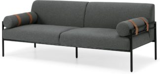 An Image of Benito 3 Seater Sofa, Marl Grey and Leather