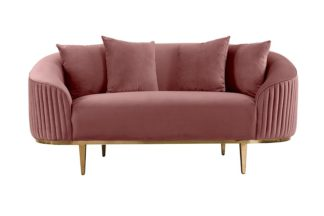 An Image of Ella Two Seat Sofa - Blush Pink- Brass Base