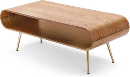 An Image of Hooper Storage Coffee Table, Ash and Brass