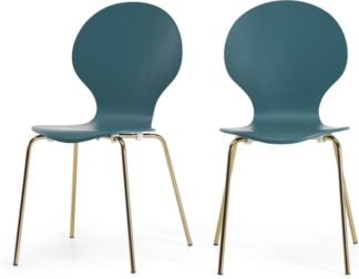 An Image of Set of 2 Kitsch Dining Chairs, Teal and Brass