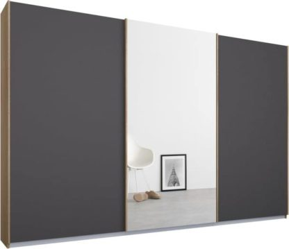 An Image of Malix 3 door 270cm Sliding Wardrobe, Oak frame,Matt Graphite Grey & Mirror doors , Premium Interior