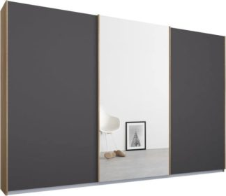 An Image of Malix 3 door 270cm Sliding Wardrobe, Oak frame,Matt Graphite Grey & Mirror doors, Standard Interior