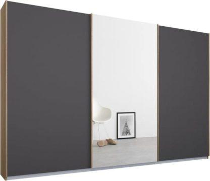 An Image of Malix 3 door 270cm Sliding Wardrobe, Oak frame,Matt Graphite Grey & Mirror doors, Standard Interior