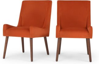 An Image of Higgs set of 2 Dining Chairs, Flame Orange Velvet
