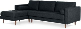 An Image of Scott 4 Seater Left Hand Facing Chaise End Corner Sofa, Textured Weave Navy