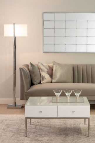 An Image of Stiletto White Glass and Chrome Coffee Table