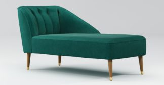 An Image of Custom MADE Margot Right Hand Facing Chaise, Teal Cotton Velvet, Light Wood Brass Leg