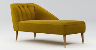 An Image of Custom MADE Margot Right Hand Facing Chaise, Antique Gold Cotton Velvet, Light Wood Brass Leg