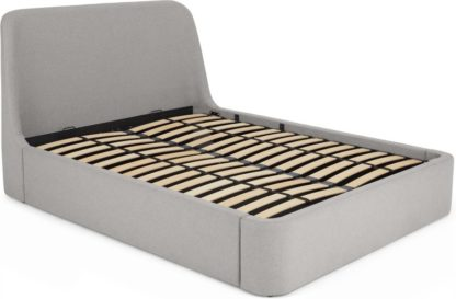 An Image of Hayllar Double Bed with Ottoman Storage, Cool Grey
