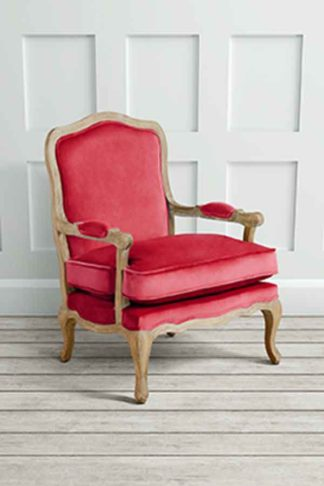 An Image of Le Brun - French Oak Cranberry Occasional Armchair