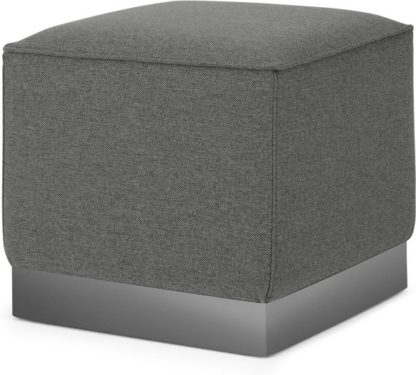 An Image of Hetherington Square Pouffe, Coventry Grey with Nickel Base