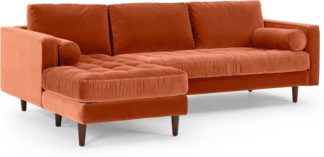 An Image of Scott 4 Seater Left Hand Facing Chaise End Corner Sofa, Burnt Orange Cotton Velvet