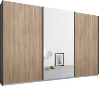 An Image of Malix 3 door 270cm Sliding Wardrobe, Graphite Grey frame,Oak & Mirror doors , Premium Interior