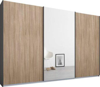 An Image of Malix 3 door 270cm Sliding Wardrobe, Graphite Grey frame,Oak & Mirror doors , Premium Interior