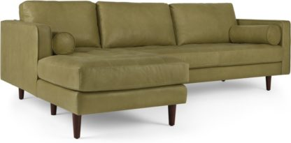 An Image of Scott 4 Seater Left Hand Facing Chaise End Corner Sofa, Chalk Olive Premium Leather
