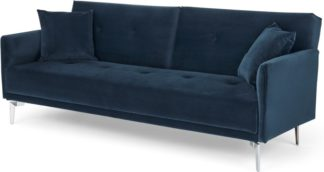 An Image of Akio Click Clack Sofa Bed, Sapphire Blue Velvet