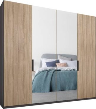 An Image of Caren 4 door 200cm Hinged Wardrobe, Graphite Grey Frame, Oak & Mirror Doors, Standard Interior