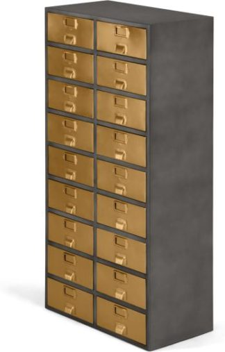 An Image of Stow Tall Storage Unit, Vintage Brass