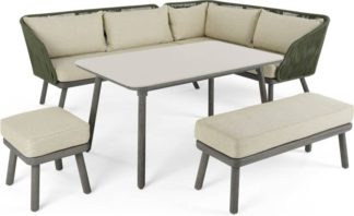 An Image of Alif Garden Corner Dining Set, Concrete Green and Grey Eucalyptus