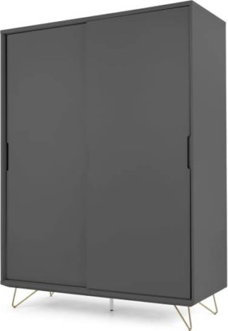 An Image of Elona Sliding Wardrobe, Charcoal & Brass