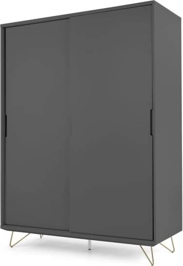 An Image of Elona Sliding Wardrobe, Charcoal & Brass