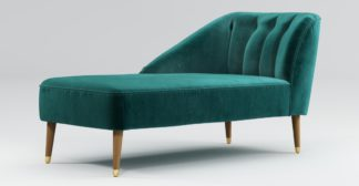 An Image of Custom MADE Margot Left Hand Facing Chaise, Peacock Blue Velvet with Light Wood Brass Leg