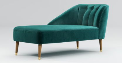An Image of Custom MADE Margot Left Hand Facing Chaise, Peacock Blue Velvet with Light Wood Brass Leg
