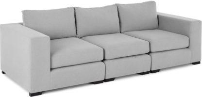 An Image of Mortimer 4 Seater Modular Sofa, Chalk Grey Cotton