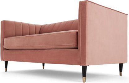 An Image of Evadine 2 Seater Sofa, Blush Pink Velvet