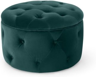 An Image of Hampton Small Round Storage Pouffe, Seafoam Blue Velvet