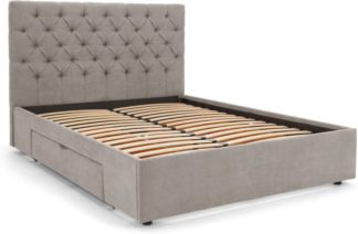 An Image of Skye Double Bed with Storage Drawers, Owl Grey