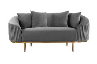 An Image of Ella Two Seat Sofa - Dove Grey- Brass Base