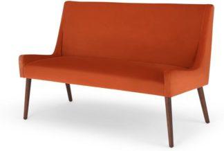 An Image of Higgs Upholstered Bench, Flame Orange Velvet