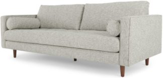 An Image of Scott 3 Seater Sofa, Grey Basketweave
