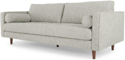An Image of Scott 3 Seater Sofa, Grey Basketweave