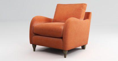 An Image of Custom MADE Sofia Armchair, Plush Coral Velvet with Light Wood Leg