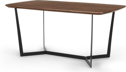 An Image of Jaxta 6 Seat Dining Table, Walnut and Black