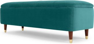 An Image of Margot Ottoman Storage Bench, Seafoam Blue Velvet