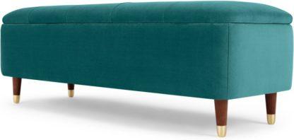 An Image of Margot Ottoman Storage Bench, Seafoam Blue Velvet