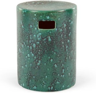 An Image of Sacha Reactive Glaze Decorative Stool, Turquoise