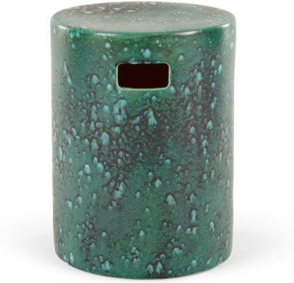 An Image of Sacha Reactive Glaze Decorative Stool, Turquoise